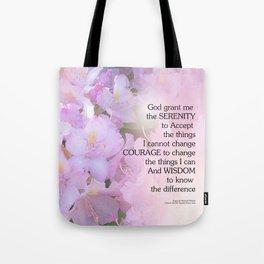 Serenity Prayer Rhododendron Glow Tote Bag