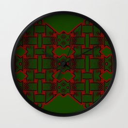 Weave on green background-1 Wall Clock