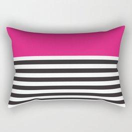 Hot Pink Magenta and Black and White Stripe Rectangular Pillow