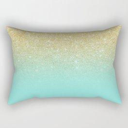 Modern chic gold glitter ombre robbin egg blue color block Rectangular Pillow