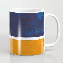 Navy Blue Yellow Ochre Abstract Minimalist Rothko Colorful Mid Century Color Block Pattern Coffee Mug