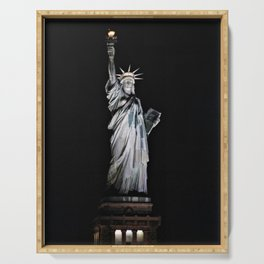 Statue of Liberty at Night Serving Tray