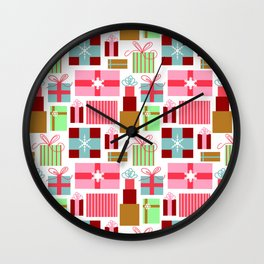 Merry Christmas from Florida | Presents Gift Boxes Bows Tropical Pink Green | Renee Davis Wall Clock