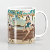travel poster Mugs featuring Honolulu Hawaii vintage travel poster by Nick's Emporium Gallery