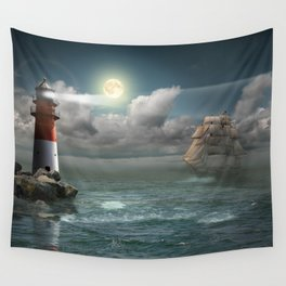 Lighthouse Under Back Light Wall Tapestry
