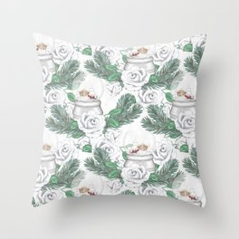Snow globes and roses Throw Pillow