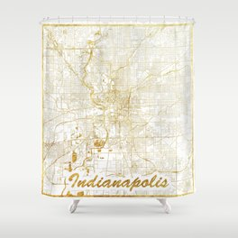 Indianapolis Map Gold Shower Curtain