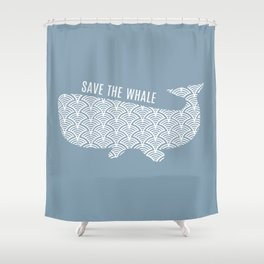 Save the Whale Blue Ocean Shower Curtain