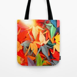 Senbazuru rainbow Tote Bag
