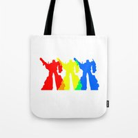 optimus prime Tote Bags featuring Optimus Prime Colors by Christopher