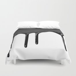 Black paint drip Duvet Cover