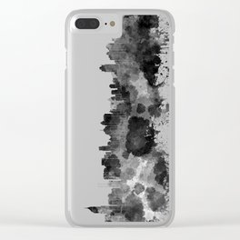 Jakarta skyline in black watercolor on white background Clear iPhone Case
