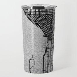 Silver Seattle map Travel Mug