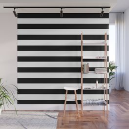 Midnight Black and White Stripes Wall Mural
