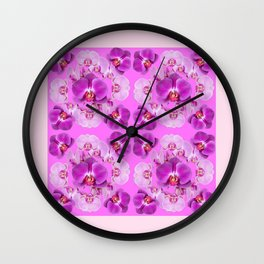 Pink Color Abstracted Modern Purple Moth Orchids Wall Clock
