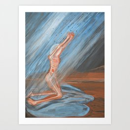 The rain advancing: female, rain Art Print