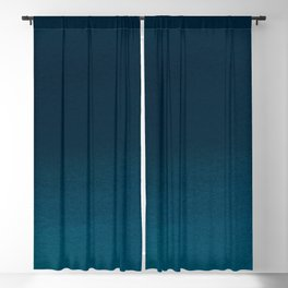 Navy blue teal hand painted watercolor paint ombre Blackout Curtain