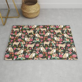 Pugs of spring floral pug dog cute pattern print florals flower garden nature dog park dog person  Rug