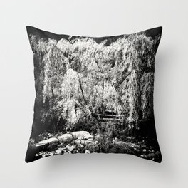 Willow Tree at River Bank Film Noir Style Throw Pillow