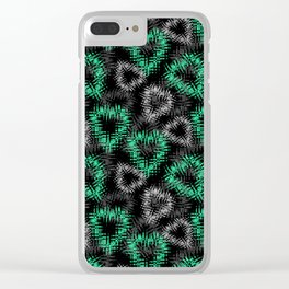 Broken heart . Black and green pattern . Clear iPhone Case