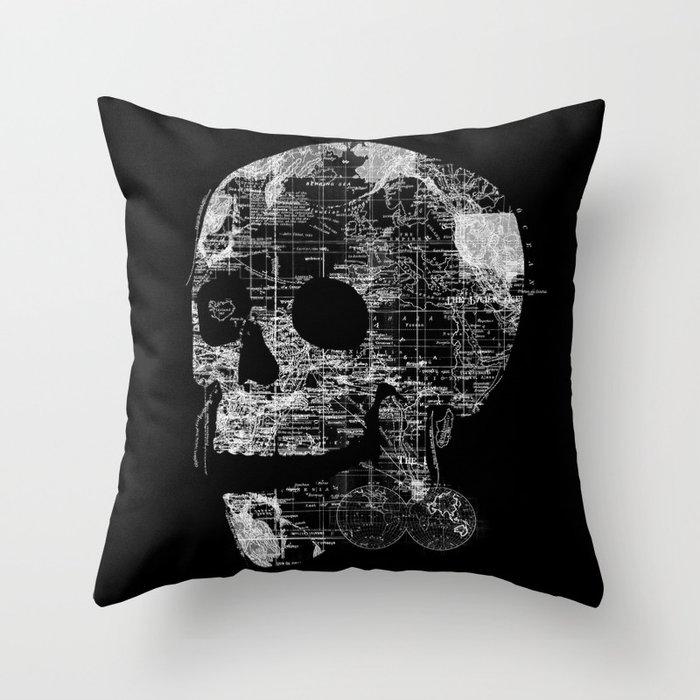 Skull Wanderlust Throw Pillow