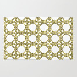 Gold & White Knotted Design Rug