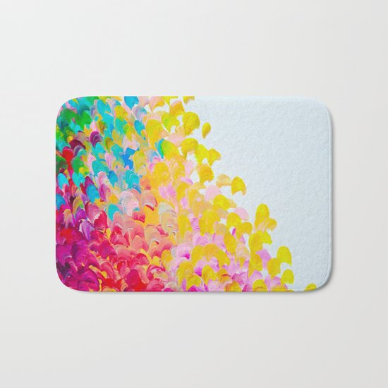 CREATION IN COLOR - Vibrant Bright Bold Colorful Abstract Painting Cheerful Fun Ocean Autumn Waves Bath Mat