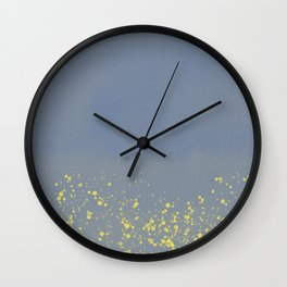 Abstract speckled background - grey and yellow Wall Clock