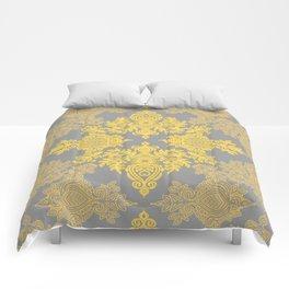 Golden Folk - doodle pattern in yellow & grey Comforters