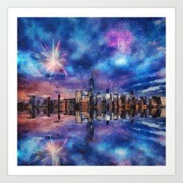 New York Fireworks Art Print