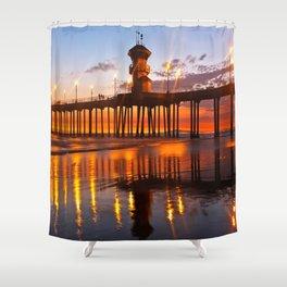 Lifeguard Tower  / Huntington Beach Pier Shower Curtain