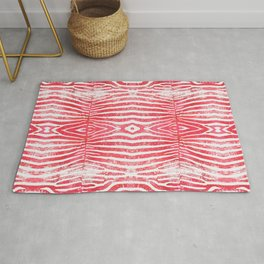 Zebra Stripes | Distressed Red and White | Watercolor Animal Print Art Rug