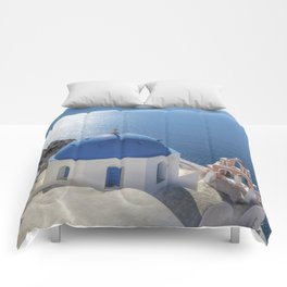 Santorini Island with churches and sea view in Greece Comforters