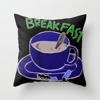breakfast Throw Pillows featuring BREAKFAST by Gianluca Floris