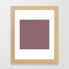 Garnet and White Polka Dots Framed Art Print