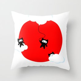 Ninja cats in the sky (Japanese edition) Throw Pillow