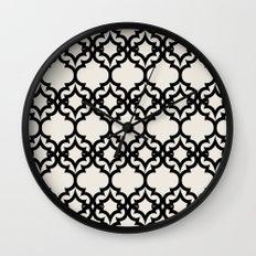 Lattice Stars in Black and Ivory Wall Clock