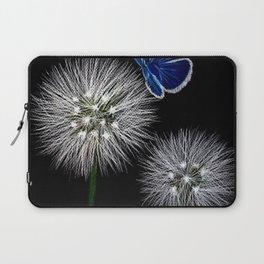 butterfly blue on dandelion Laptop Sleeve