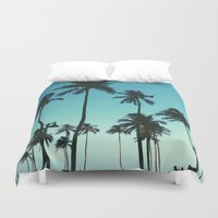 palm trees Duvet Covers featuring Palm Trees by Whitney Retter