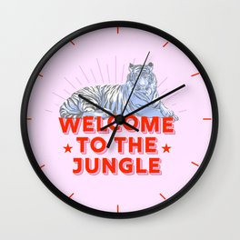welcome to the jungle - retro tiger Wall Clock