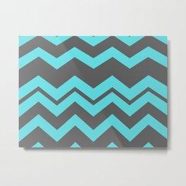 Chevron Pattern - Blue/ Smoke Gray Metal Print