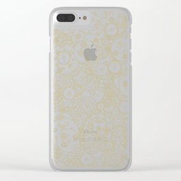 Clockwork Retro / Cogs and clockwork parts lineart pattern in brown and gold Clear iPhone Case