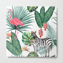 Tropical Pattern with Palm Leaves, Zebra and Flamingo Metal Print