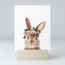 Baby Rabbit, Bunny With Flower Crown, Baby Animals Art Print By Synplus Mini Art Print