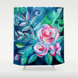 Tropical Camellia Extravaganza - oil on canvas Shower Curtain