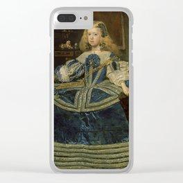 Diego Rodriguez de Silva y Velázquez - Infanta Margarita Teresa in a Blue Dress Clear iPhone Case