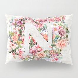 Initial Letter N Watercolor Flower Pillow Sham