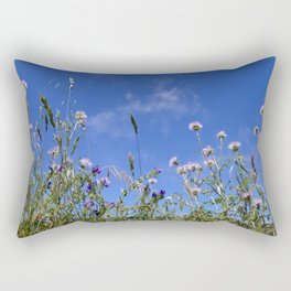 Field of blooming wildflowers on a beautiful summer day Rectangular Pillow