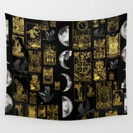 Beautiful Tarot Print with Raven and Moon Wall Tapestry