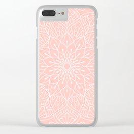 White Mandala Pattern on Rose Pink Clear iPhone Case